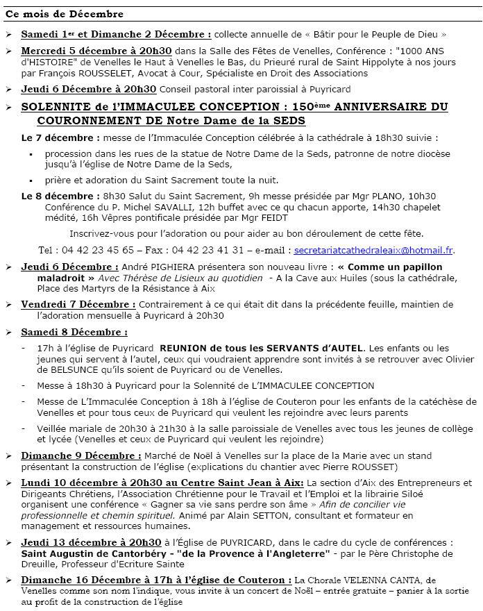Bulletin paroissial du 2 décembre 2007